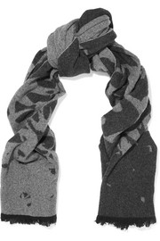 Swallow intarsia wool-blend scarf