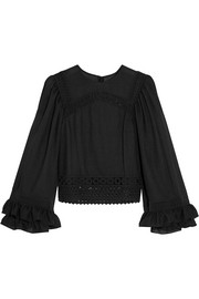 Ruffled broderie anglaise cotton-trimmed crepe top