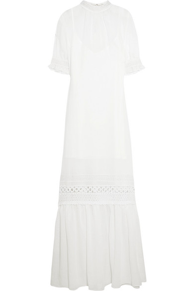 Discount Wholesale Price Mcq Alexander Mcqueen Woman Guipure Lace-trimmed Gauze Dress Ivory Size 42 Alexander McQueen Order OFKB45