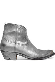 Young metallic distressed leather ankle boots