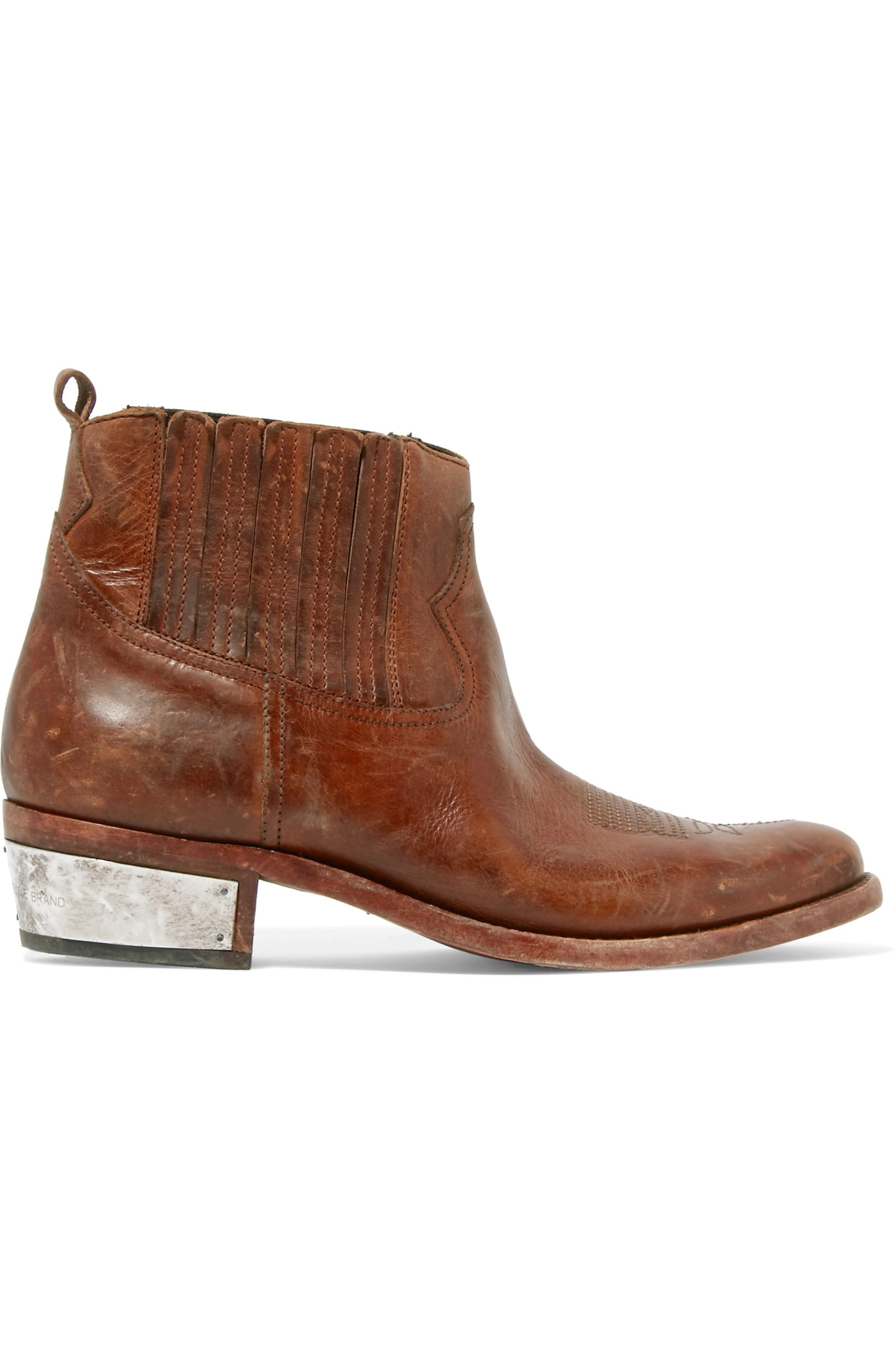 Brown Crosby distressed leather ankle