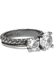 Bottega Veneta Oxidized sterling silver cubic zirconia ring