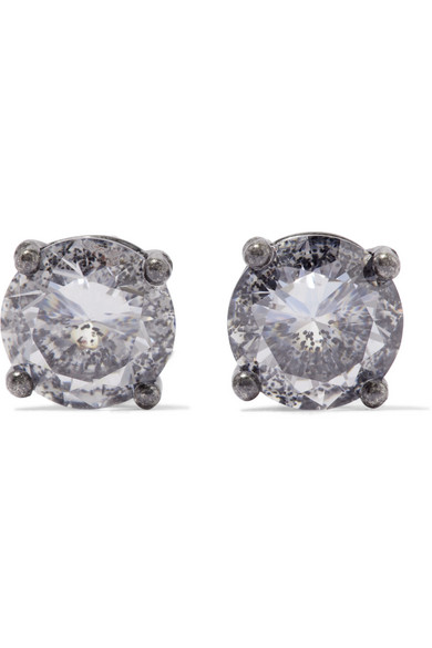 Bottega Veneta - Oxidized Silver Cubic Zirconia Earrings