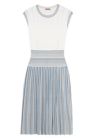 Pleated jacquard-knit dress