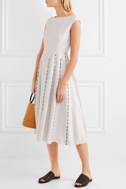 Bottega Veneta Pleated embroidered linen and cotton-blend midi dress