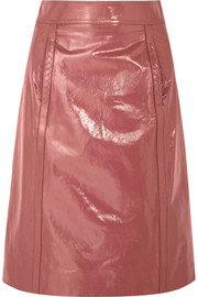 Patent-leather pencil skirt