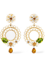 Gold-tone, Swarovski crystal and enamel clip earrings