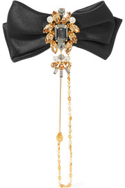 Dolce & Gabbana Satin, gold-tone and Swarovski crystal brooch