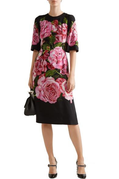 DOLCE & GABBANA Floral-Print Crepe Dress in Colour: Black