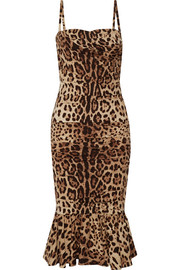 Ruched leopard-print silk-cady midi dress