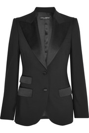 Dolce & Gabbana Satin-trimmed stretch wool and silk-blend blazer
