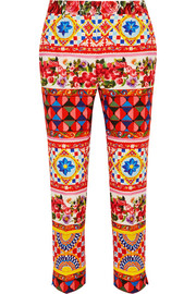 Dolce & Gabbana Cropped printed cotton-blend jacquard straight-leg pants