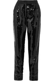 Sequined satin tapered pants