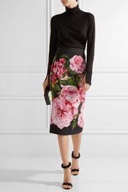 Floral-print crepe pencil skirt