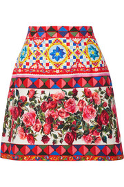 Dolce & Gabbana Printed cotton-blend mini skirt