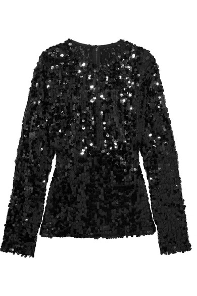Dolce & Gabbana - Sequined Tulle Top - Black