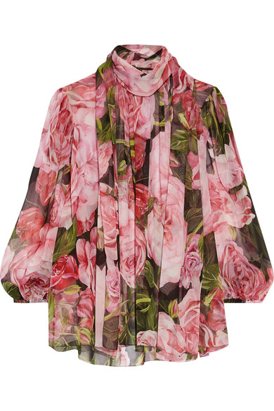 Dolce & Gabbana - Pussy-bow Floral-print Silk-chiffon Blouse - Pink