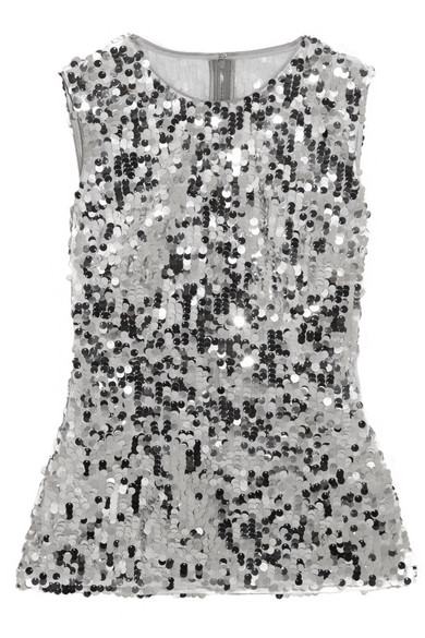 Dolce & Gabbana - Sequined Tulle Top - Silver