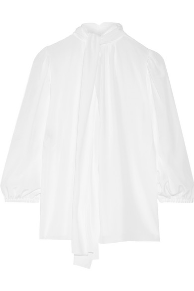 Dolce & Gabbana - Pussy-bow Silk Crepe De Chine Blouse - White