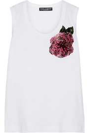 Sequin-embellished cotton-jersey tank
