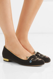 Charlotte Olympia LOL Kitty embroidered velvet pumps