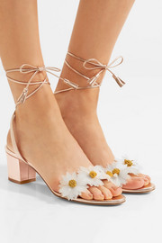 Charlotte Olympia Tara appliquéd metallic leather sandals