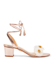 Tara appliquéd metallic leather sandals