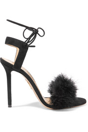 Salsa feather-embellished suede sandals