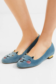 Charlotte Olympia Cheeky Kitty embroidered velvet slippers