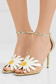 Charlotte Olympia Margherite appliquéd mesh and glittered leather sandals