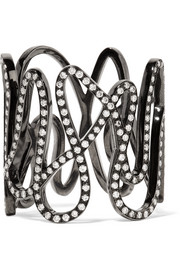 Repossi White Noise 18-karat black gold-washed diamond ring