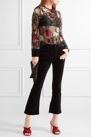 Simmons velvet-trimmed embroidered tulle top