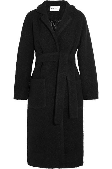 GANNI - Fenn Wool-blend Bouclé Coat - Black