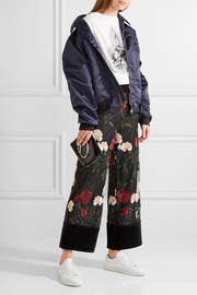 Simmons cropped velvet-trimmed embroidered tulle wide-leg pants