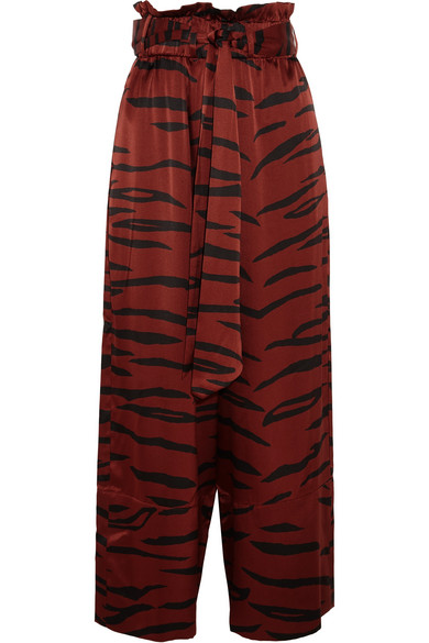 GANNI - Iona Printed Stretch-silk Satin Wide-leg Pants - Zebra print