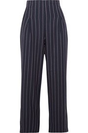 Oakwood cropped pinstriped stretch-crepe wide-leg pants