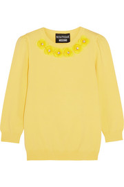 Crystal-embellished appliquéd jersey sweater
