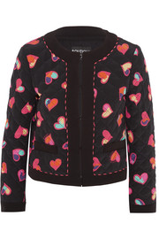Boutique Moschino Quilted printed silk crepe de chine bomber jacket