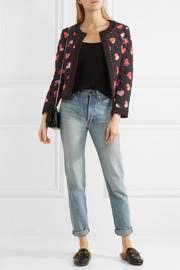 Quilted printed silk crepe de chine bomber jacket