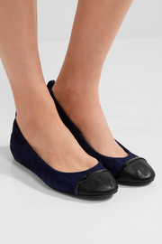 Lanvin Leather-trimmed suede ballet flats