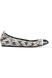 Lanvin Patent leather-trimmed elaphe ballet flats
