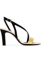 Lanvin Metallic leather and satin sandals