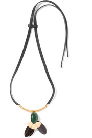 Marni Gold-tone, horn, leather and resin necklace