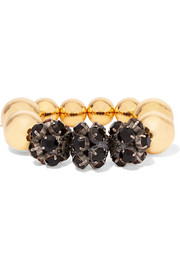 Gold and gunmetal-tone crystal bracelet