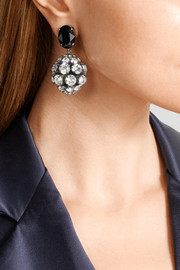 Marni Gunmetal-tone crystal clip earrings