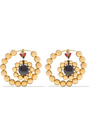 Gold-tone, crystal and resin earrings