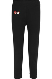 Fendi Appliquéd cotton-jersey track pants