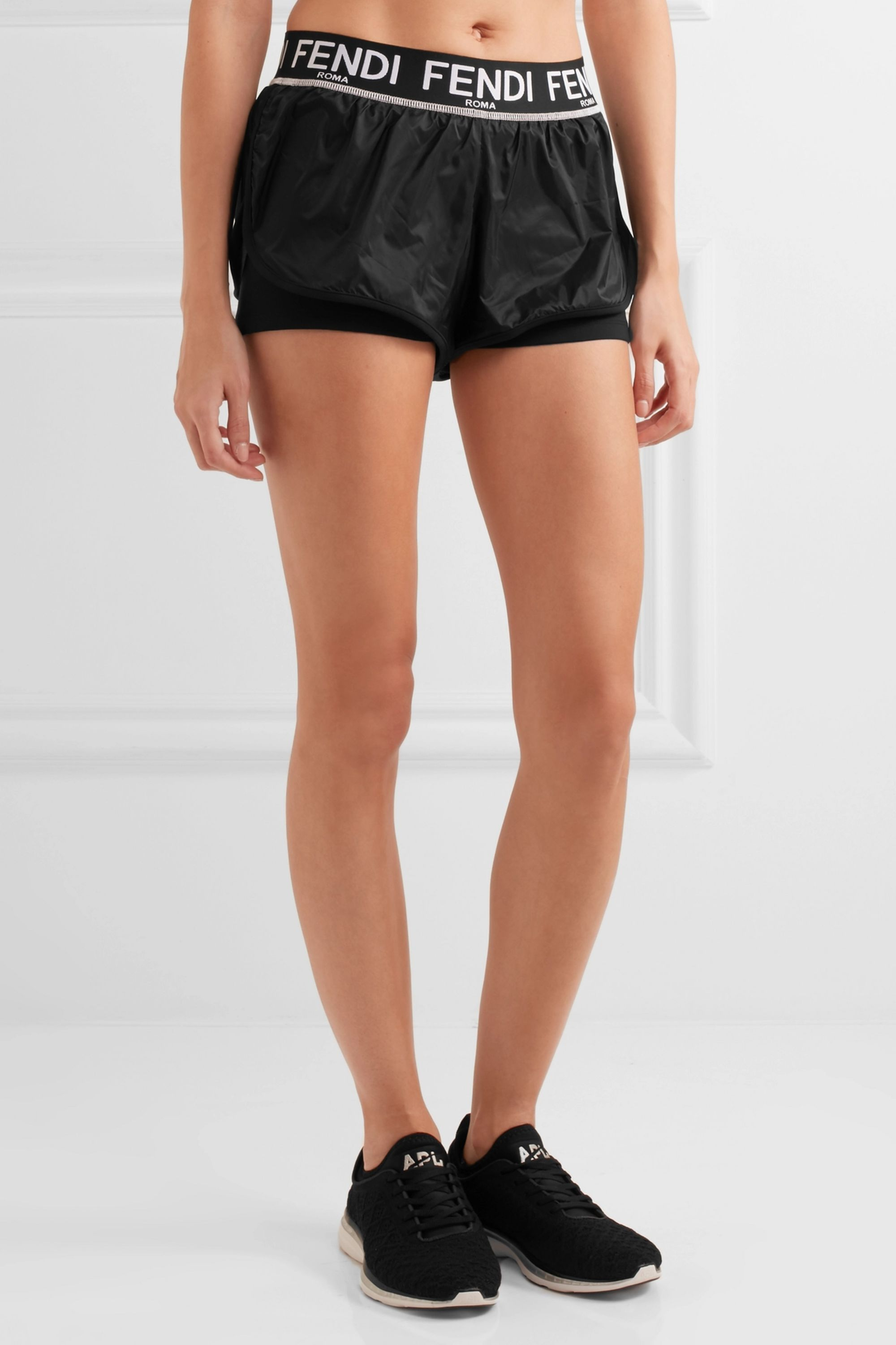 Fendi Roma shell and stretch-jersey shorts