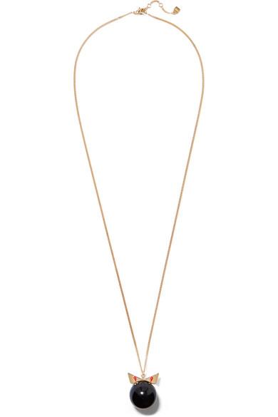 fendi female fendi crystal wonder goldtone stone necklace black