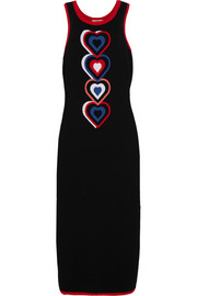 Heart-intarsia knitted midi dress